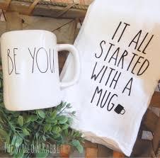 it all started with a mug rae dunn flour sack tea towel