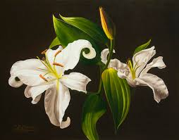 white lilies white lilies painting by gary hernandez