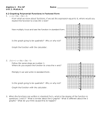 6 2 graphing polynomial functions in factored form ws