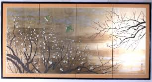 antique japanese painted silk room divider screen