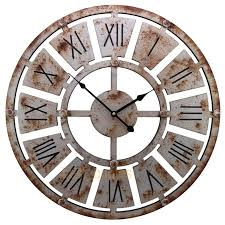 shabby chic large 58cm thin rustic wall clock rusted iron roman