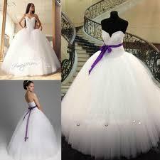 2015 white and purple ball gown wedding dresses vestidos de novia
