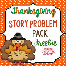 classroom freebies thanksgiving story problem pack