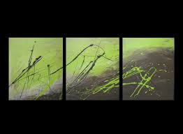 Modern Wall Art 3 Abstract Canvas Painting Lime Green And Brown Modern Wall Art