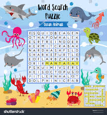 words search puzzle game ocean animals stock vector 619223270