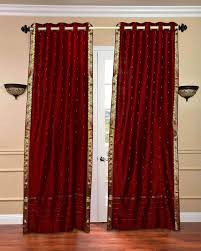 Sheer Maroon Curtains Maroon Ring Top Sheer Sari Curtain Drape Panel