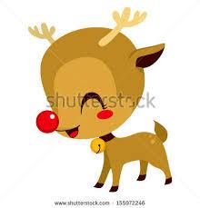 illustration cute rudolph red nosed reindeer cartoon