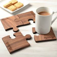 personalised wooden gift set of four walnut coasters wood