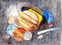 solar system drawn in colored pencil astronomy magazine