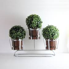 Home Plant Decor by Vintage 3 Pot Chrome Planter Mid Century Modern Home Decor