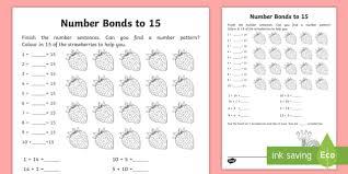 number bonds within 20 bonds to 15 activity sheet ni ks1