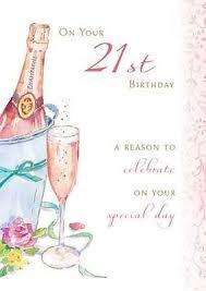 happy birthday card 21st birthday pink champagne size 4 75 x 6 75
