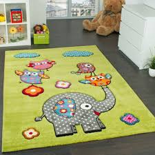 Kids Rooms Rugs by Children U0027s Room Rug Cute Zoo Animals Owls And Elephants Green