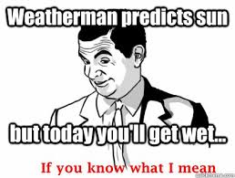If You Know What I Mean Meme - weatherman predicts sun but today you ll get wet if you know