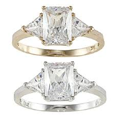 zirconia stone rings images 2 ct tw radiant cut cubic zirconia 3 stone engagement ring in jpg