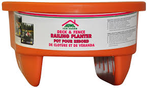 amazon com home dek decor round rail planter 12 inch tangerine