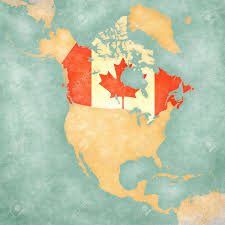 Painting A Flag Canada Canadian Flag On The Outline Map Of North America The
