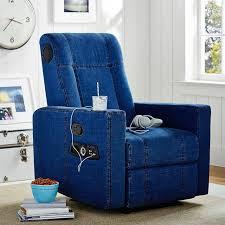 bedroom chairs for teens denim kick back recliner speaker media chair pbteen