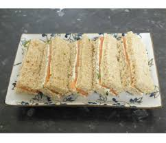 english afternoon tea sandwiches smoked salmon and chive cream