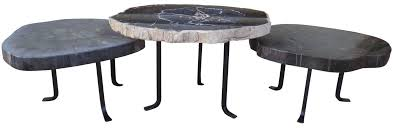 wood nesting coffee table group of petrified wood nesting coffee tables haskell antiques