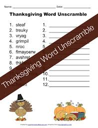 thanksgiving word unscramble free printable for