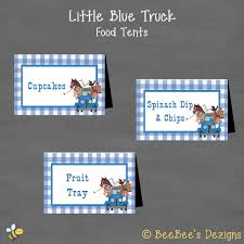 instant download little blue truck birthday food tents labels
