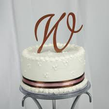 w cake topper gold monogram cake topper