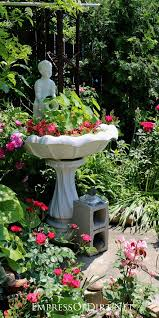 turn a garden bird bath into a planter empress of dirt