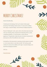 simple green ferns christmas letterhead templates by canva