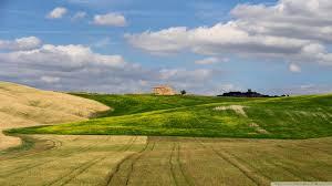 field beautiful fields tuscan farm house clouds flower wallpaper