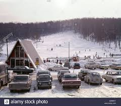A Frame Building 1960s Ski Slope In Pocono Area Of Pa A Frame Building And Parked