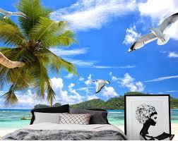 popular ocean view wall mural buy cheap ocean view wall mural lots custom 3d photo wall mural wallpapers for living room beach coconut blue sky white cloud ocean