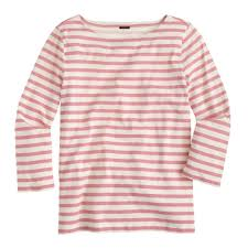 Brighter Pink J Crew Striped Boatneck T Shirt In Pink Lyst