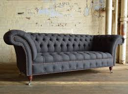 Handmade Chesterfield Sofas Uk Nuvo Charcoal Grey Wool 3 Seater Chesterfield Sofa Abode Sofas