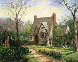 kinkade the cottage painting anysize 50