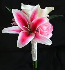 pink lilies touch pink stargazer bouquet