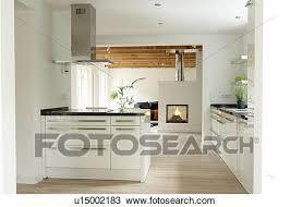 ouvrir cuisine banque de photo moderne ouvrir plan cuisine und cheminée