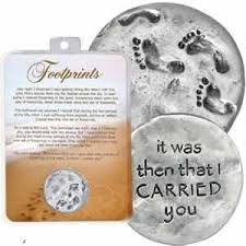 footprints in the sand gifts 1 1 4 pewter footprints in the sand token with verse