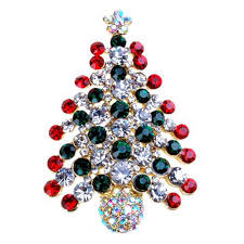 2017 sparkling crystals colorful christmas tree brooch stunning