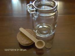 clear round glass jar with cork stopper lid wood wooden zoom