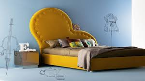 creative and unique unusual upholstered headboard with yellow creative and unique unusual upholstered headboard with yellow cover for king size low profile bed with stainless steel square nightstand ideas