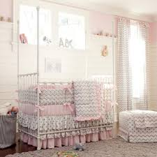 Zig Zag Crib Bedding Set Bedroom Design Pretty Mix Of Gray And Pink Crib Bumper With