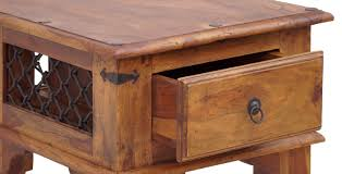 iron jali small coffee table with drawer umaid craftorium