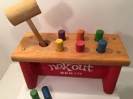 Playskool Cobblers Bench 60s Vintage Playskool Nokout Cobblers Wood Bench Toy Hammer Pegs