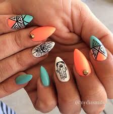 tiffany blue aztec stiletto nails beauty inspiration pinterest