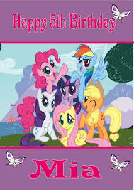 Mlp Birthday Card Personalised My Little Pony Birthday Card