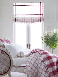 Red And White Buffalo Check Curtains Red And White Bedroom With Plaid Tattersall Soft Roman Shade