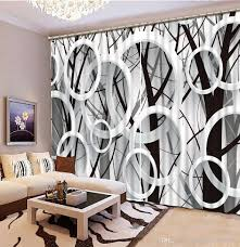 2017 luxury european modern black and white tree custom curtain