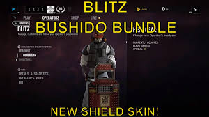 rainbow six siege blitz bushido bundle shield skin youtube