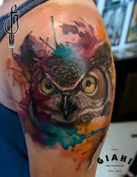 Owl Shoulder - 60 watercolor owl tattoos collection
